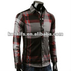 fashion plaid slim fit dress shirt