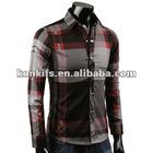 fashion plaid slim fit dress shirt