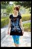 graphic latex fashion sleepwear for lady