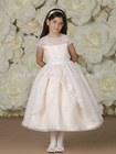 Illusion Bateau Neckline Bodice Trimmed with Satin Bands and Three-dimensional Embroidered Flowers Cap sleeve Flower Girl Dress