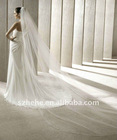 V006 simple modern long tulle cathedral wedding veil 2011