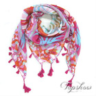 cotton printed neckerchief with tassels