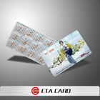 paper business card with calendar