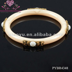 Newest Resin Bangle With Metal Flower For 2012 - PYBR4348