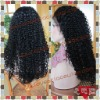 Kinky curl 100% Indian remy hair jet black full lace wig in stock