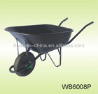 Poly rust proof tray and steel aeroframe powder coated handles with cushion grips.With 14 in. ribbed pneumatic tire Wheel Barrow