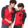 Cheap raglan sleeve red baseball jacket for unisex