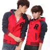 Cheap raglan sleeve red baseball jacket for unisex