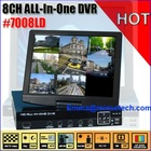 Hot ALL IN ONE VGA HD Output H.264 8CH LCD DVR Combo High-End Real time 7008LD