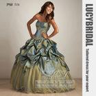 Dazzling Ball Gown Strapless Appliques Pick-ups Taffeta Prom Dress PM516