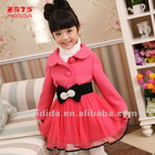 Long Frock Design Branded Clothes For Children Winter Christmas Wool Dress