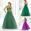 Wholesale price custom made appliqued and beaded sweetheart tulle prom dresses green and purple