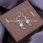 2012 Fashion Gem-set banana 925 silver plating earring