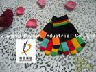 acrylic black Kids' novelty knitted winter Magic Gloves with Colorful fingers