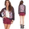2012 Women Floral Baseball Jacket, Ladies Fashion Coat (CC2102)