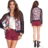 2012 Women Floral Baseball Jacket, Ladies Fashion Coat (CC2102)