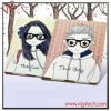 Lovers stand case couple case with lovely glasses girls boys case for iPad2/iPad3/new iPad