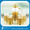 glass tea cup and glass tea pot,arabic tea set