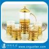 glass tea cup and glass tea pot,arabic tea set