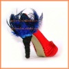 Blue feather high heeled shoes covers