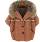 Europe and US Half Sleeve with Fur Collar Melton Coat in the winter of 2012