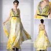 Wholesale V-neck Printed Chiffon Maxi Dresses Evening Gown 30329