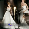Soft Tulle Strapless Sweetheart A-Line Beading Beading Waist White Long Wedding Dress Bridal Dresses
