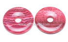 Dyed Red Yellow Striped Jasper Donut Pendants