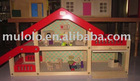 Mll 55281 wooden red and transparent roof doll house and furnitures for chinldren