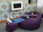 MYSTIC purple sexy indoor beanbag lounger,micro soft suede bean bag lounge with ottoman, full relax beanbag bed set