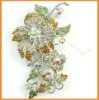 Flower rhinestone jewelry brooch