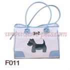 F011 40*19*28 CM White &Pink PVC Material Pet Carrier MOQ is 1000pcs/item 1pc/opp bag Drop Shipping