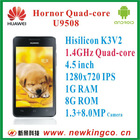 Huawei Hornor Quad-core U9508 1G RAM_Better than xiaomi m2_4.5 inch 1280x720 IPS_ Android 4.0_1.3+8.0MP Camera_GSM+3G_Smartphone