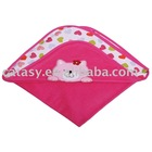 Catasy pure cotton 80*80cm two layers with heart printing&embroidered cat pattern baby blanket
