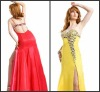 high quality spagetti strap slit side back open beaded dress P-ED-280