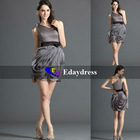 Short Grey Chiffon with Black Satin Waistband One Shoulder Mini Fantasic Skirt Bridesmaid Party Formal Dresses Evening Dress
