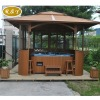 deluxe red pine wooden outdoor spa gazebo