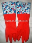 Fashion rubber household gloves with cotton inside