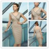 Free Shipping 2012 New Taffeta V-neck Beaded Knee Length Mother of the Bride Dresses JYMD066