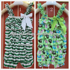 owl and green colorful soft and wholesales new design stain romper with straps