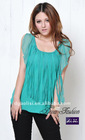 US Style Sweet Green Silk Casual Lady Blouse
