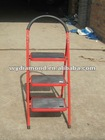 Household folding steel 3 step ladder with handrail