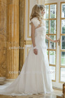 Elegant Simple Strapless Gown with A Side Sweep and 3 Dimensional Flowers Off Center at the Waist Bridal Wedding Dress