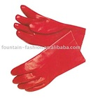 Red pvc coated glove