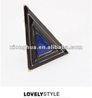 exaggerated triangle metal drop of oil stylish opening Ring (Black+Blue)