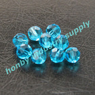 10mm size faceted lake blue color crystal round beads