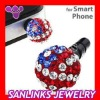 10mm Czech Crystal Ball Earphone Jack Plug For iPhone
