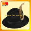 Fashion black wool felt fedorawith gg band and feather trim