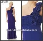 Chiffon one shoulder with handmade flowers royal blue mother of the bride dresses