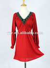 Fashion Sexy Lady Long Sleeve Ruffle Wavy Front Beaded V-neck Casual Dress